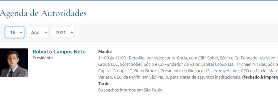 The President of Brazil's Central Bank Has a Meeting With Brian Brooks and Jeremy Allaire